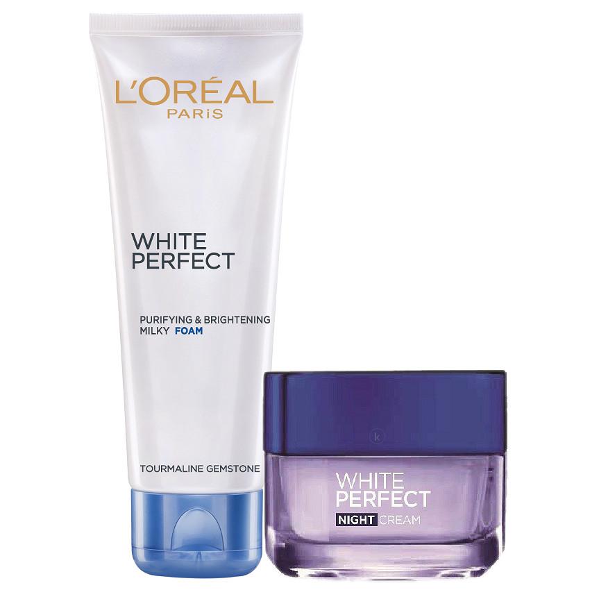 Bộ Đôi Kem Dưỡng Đêm Và Sửa Rửa Mặt White Perfect Dewy L'oreal
