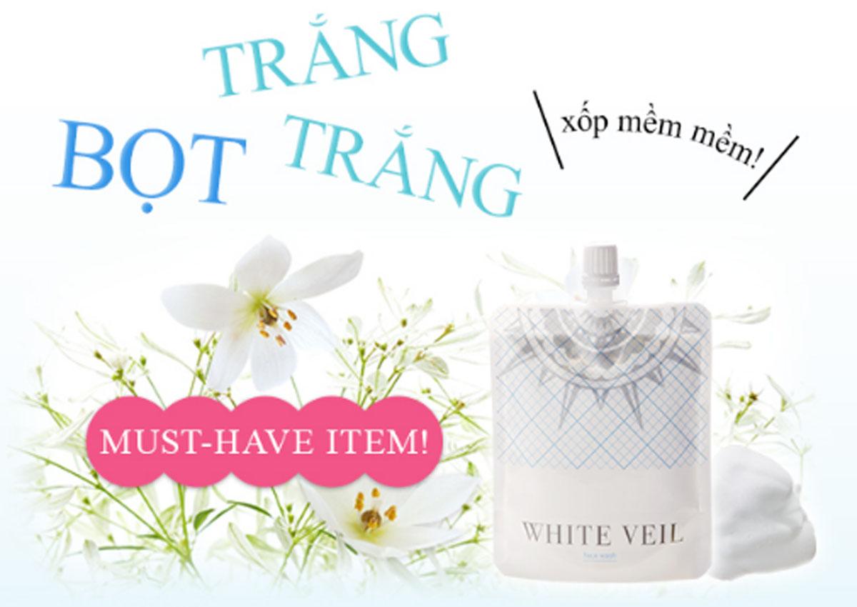 sữa rửa mặt white veil nhật bản review