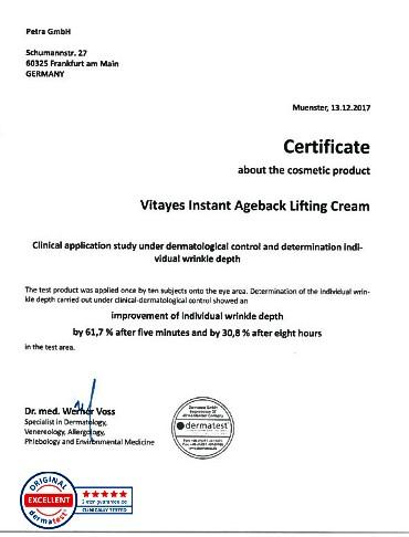 chứng nhận vitayes instant ageback chính hãng