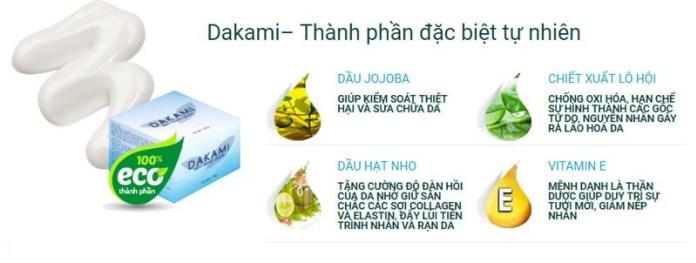 thành phần có trong kem chống lão hóa dakami