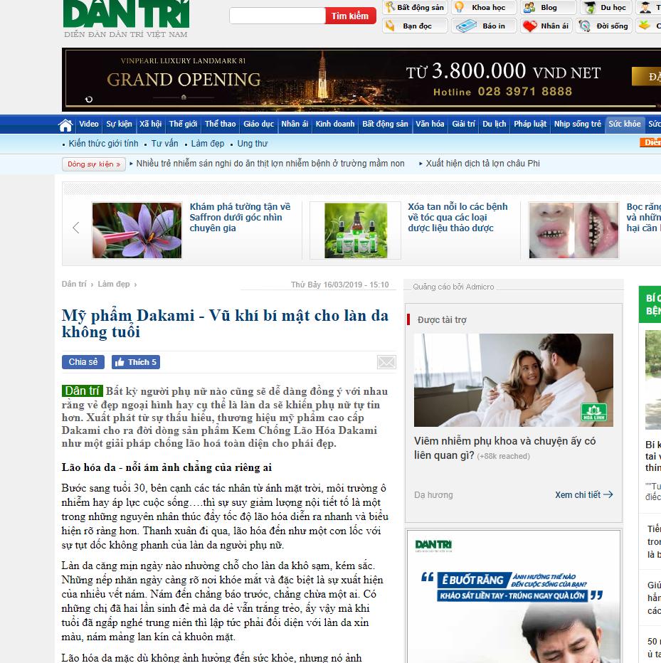Dakami được đăng trên báo dân trí