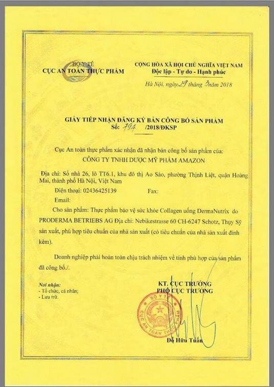 Giấy chứng nhận cho phép bán tại Việt Nam