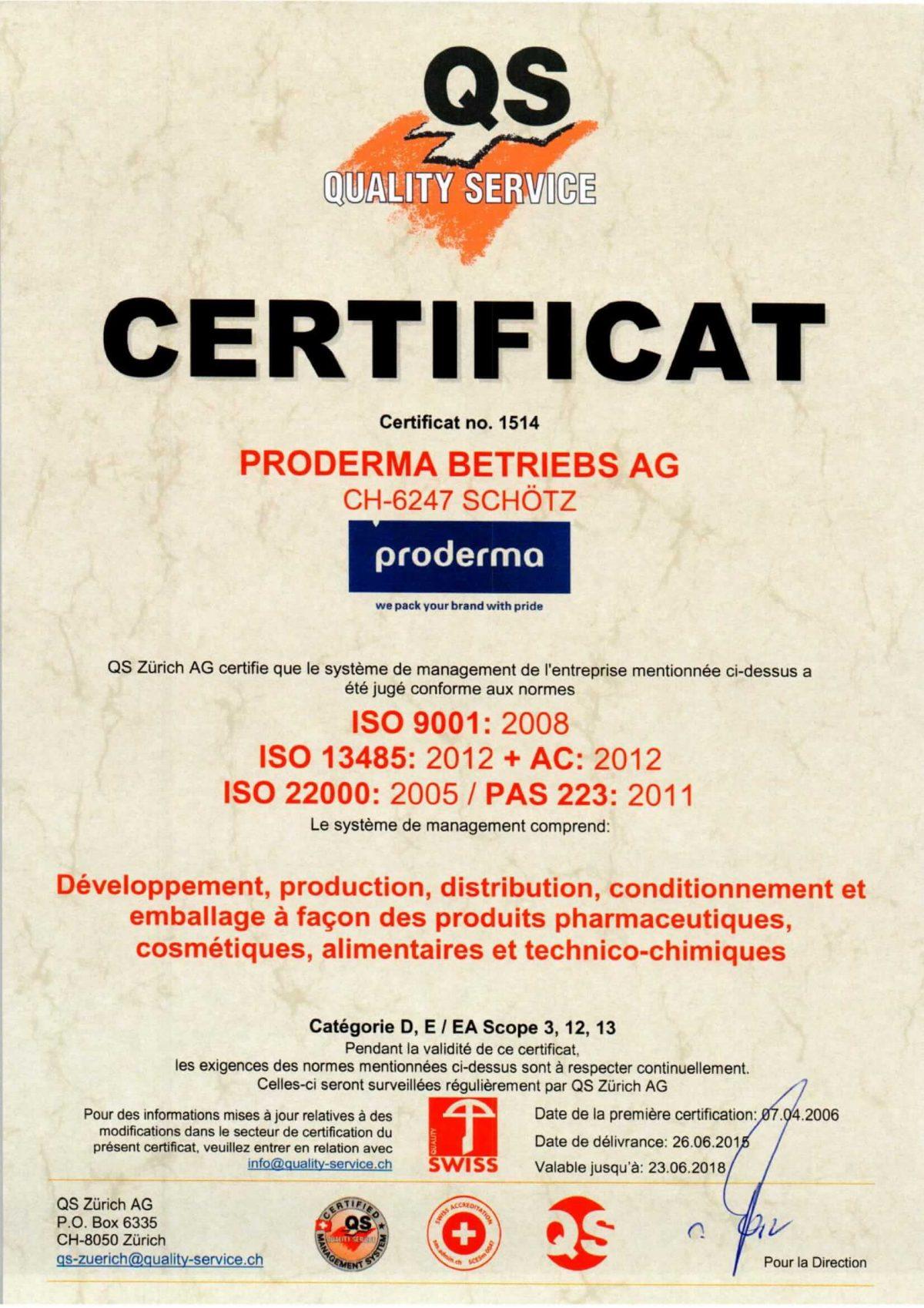 Đạt chất lượng phục vụ tại Thụy Sĩ QS và GMP, ISO 9001 Châu Âu