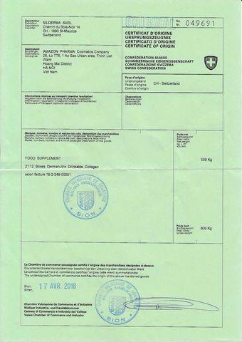 giấy chứng nhận nhập khẩu từ Thụy Sĩ về Việt Nam