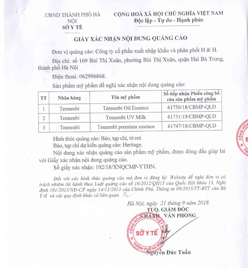 giấy xác nhận kinh doanh của tennenbi tại Việt Nam