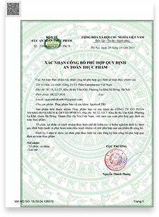 Xác nhận công bố hợp quy ATTP