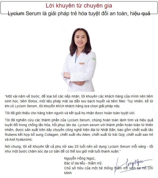 bác sĩ da liễu nói về Lycium serum