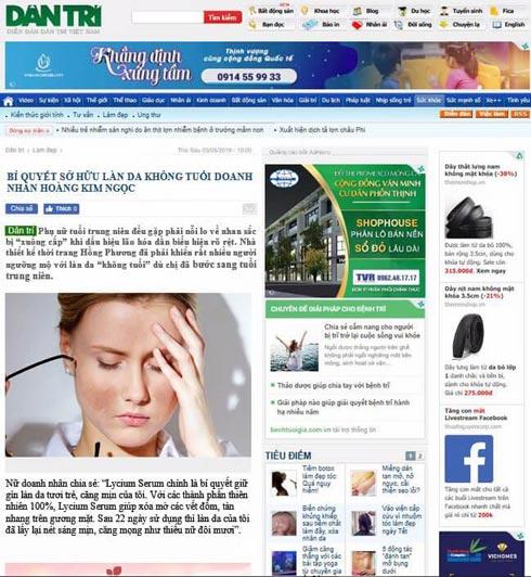 Báo Dân trí đưa tin về Lycium serum