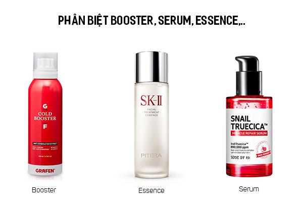 Các loại dưỡng chất booster, serum, essence