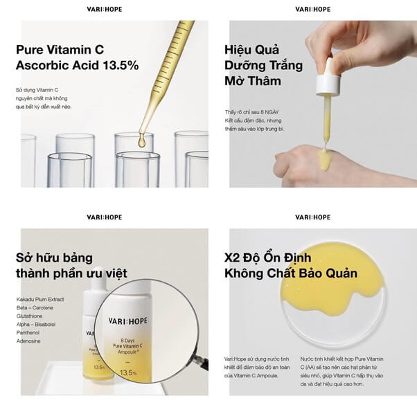 Thành phần Varihope 8 Days Pure Vitamin C Ampoule Plus