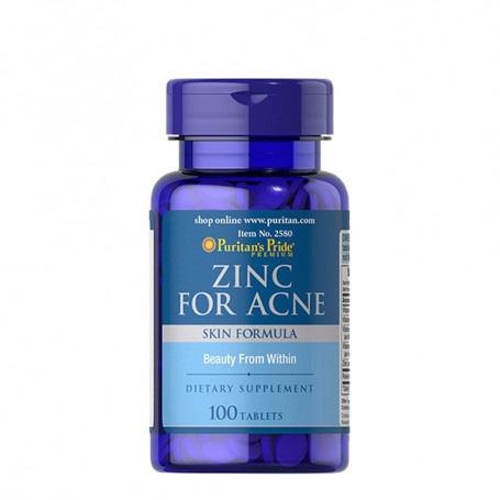 Viên uống trị mụn kẽm nhà ZinC For Acne của hãng Puritan's Pride